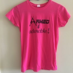 """""""Armed & Adorable"""" pink shirt"""